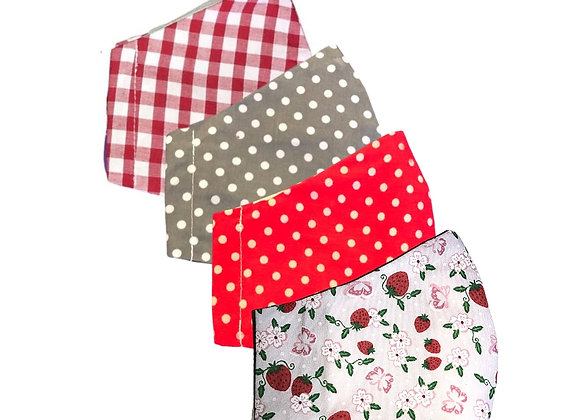 washable fabric face masks, handmade, uk small business, strawberries, red gingham, spotty fabric,