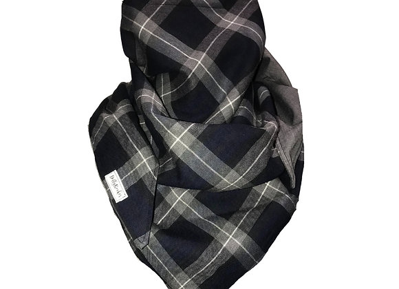Navy Tartan Scarf with Nose Wire & Adjustable Ear Loops