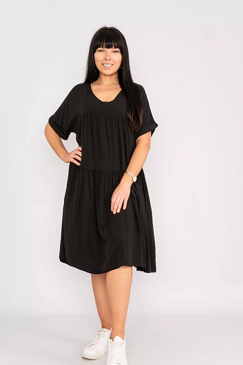 Short sleeve V neck dress Black