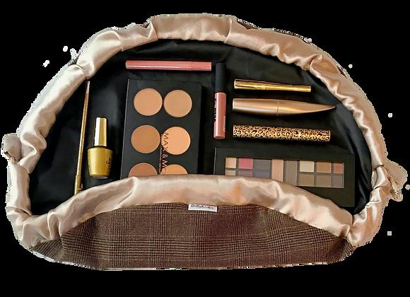 Tweed Effect Makeup Bag