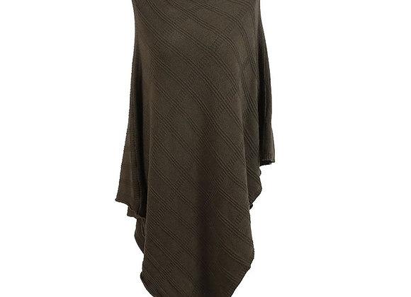 Knitted Check Pattern Oversized Tunic Poncho Khaki
