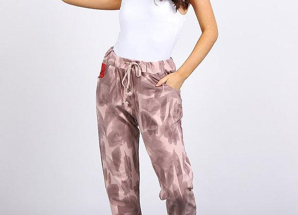 Pink Tie & Dye Print Side Pockets Cotton Casual Trouser