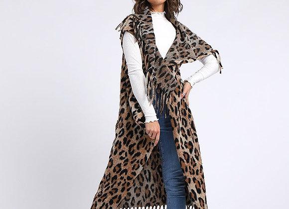 Leopard Print Warm Open Front Cardigan