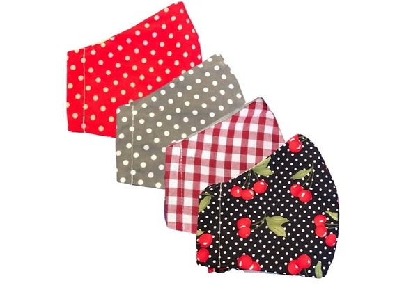 cherry, red gingham, spotty, reusable face mask, handmade christmas, made in manchester,