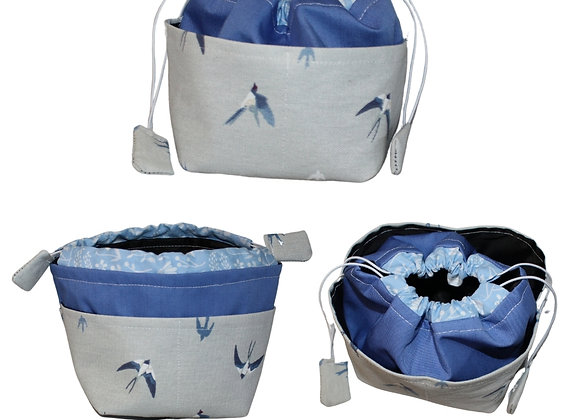 Blue Swallow Print Bitsy Bag