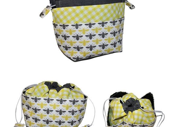 Grey & Yellow Bee Print Bitsy Bag