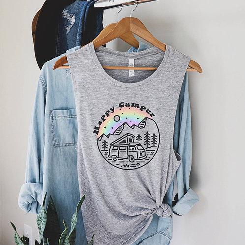 Happy Camper Rainbow Tank (Blush)