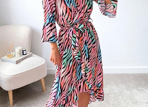 Midi Dress in Coral