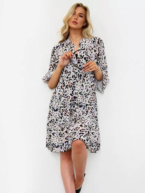 Leopard Loose Fit V Neck Dress (Black)