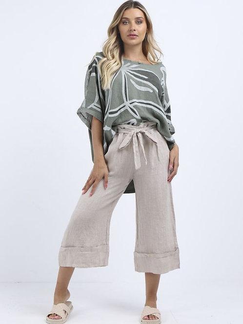 High Waist Wide Leg Linen Culottes Beige