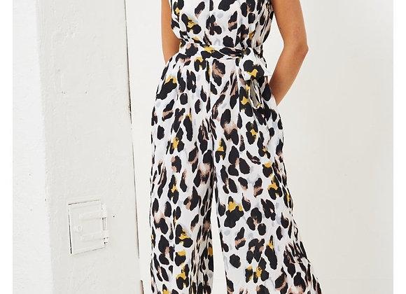 White Leopard Print Cropped Jumpsuit