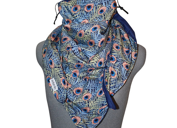 Peacock Scarf with Nose Wire & Adjustable Ear Loops