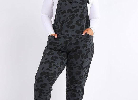 Charcoal Leopard Print Cotton Dungaree