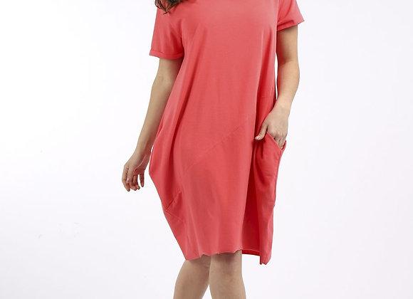 Coral Cotton Cocoon Dress