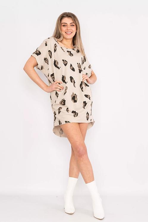 Leopard print t-shirt dress Beige