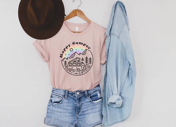Happy Camper Rainbow Tee (Grey)