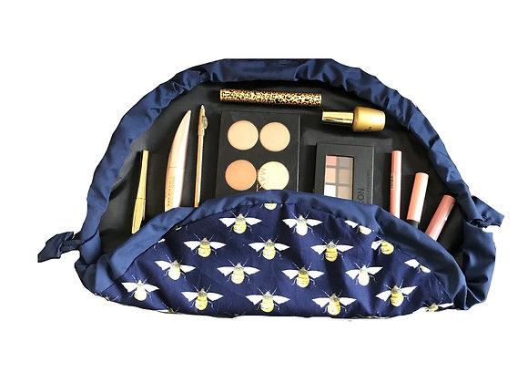 Navy Bee Makeup Bag