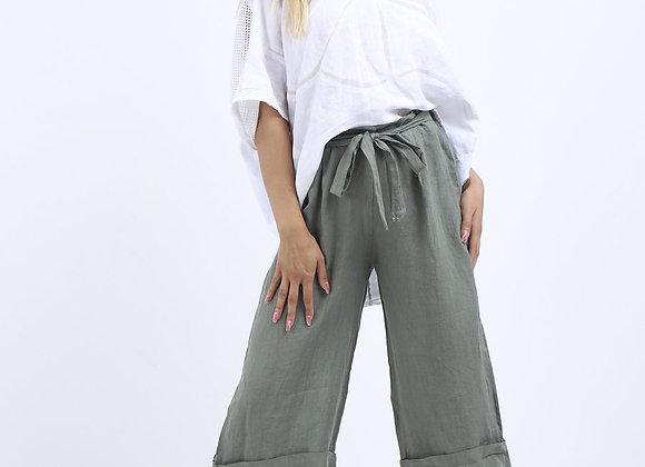 High Waist Wide Leg Linen Culottes Khaki