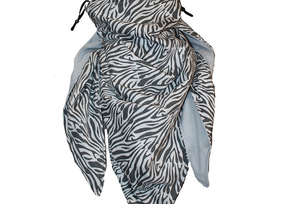 Neutral Zebra Scarf with Nose Wire & Adjustable Ear Loops