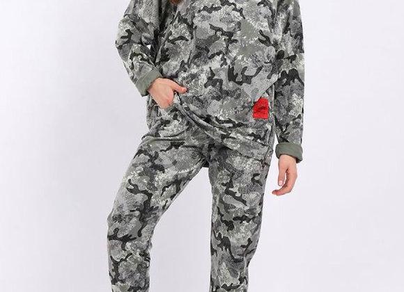Khaki Camo Print Side Pockets Cotton Slouchy Trouser