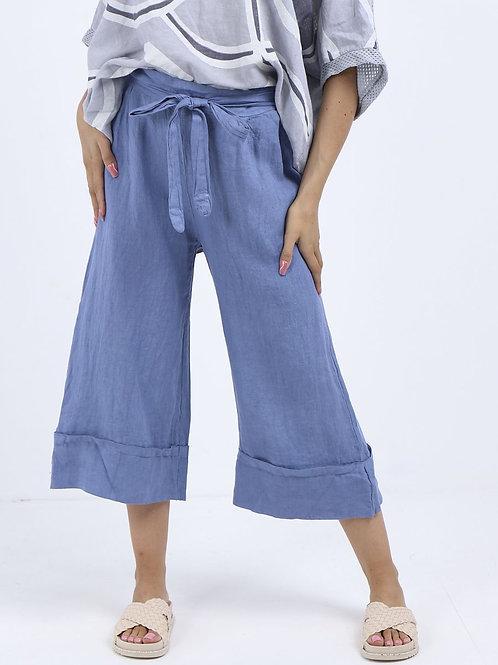 High Waist Wide Leg Linen Culottes Denim