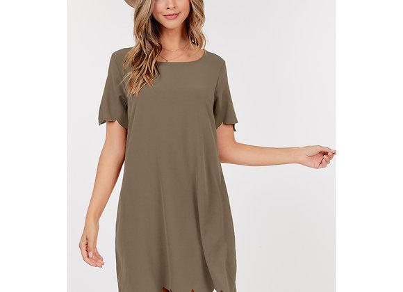 Soft Lightweight Scalloped Hem Dress