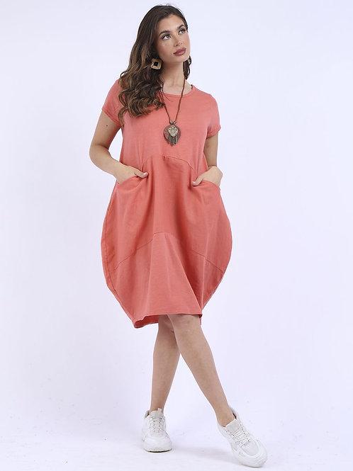 Linen Cord Panel Plain Cotton Necklace Dress in Sugar Poppy