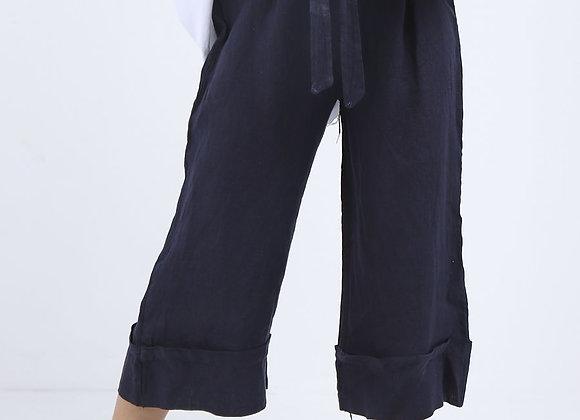 High Waist Wide Leg Linen Culottes Navy
