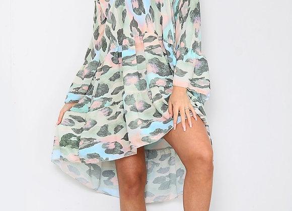 Green Loose Fit V Neck Dress