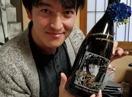 日本酒への写真彫刻