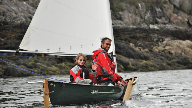 Coastal canoe sailing