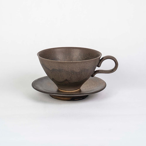 Dark Cup & Saucer