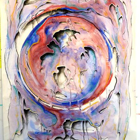 Belle Aurore Vinho, gouache e pastel seco sobre papel 151 X 107 cm 11/10/12  (#73)