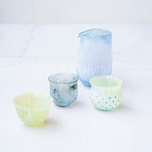 Colourful Pouring Jug and Sake Cups