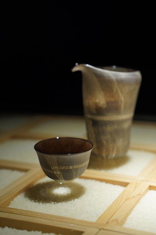 Burnished Silver Leaf Sake Cups