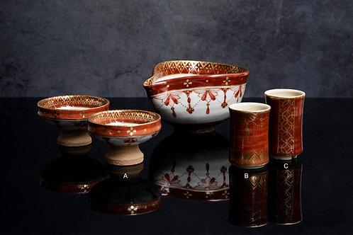 Gold & Red Sakewares