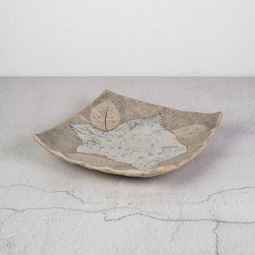 Silver & Stone Leaf Plate
