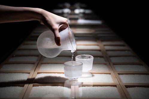 Crackled Glass Pouring Jug & Sake Cups