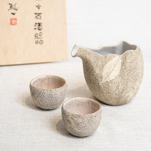 Leaf & Stone Sake Jug Set
