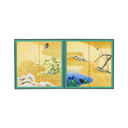 縮小屏風 四季花鳥図屏風(新)