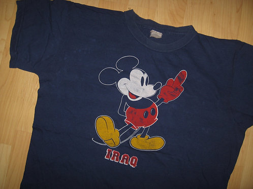 Mickey Mouse Flips Off Iraq Grunge Tee - Large