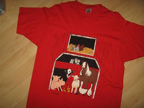 Barn Animals DyNamic Embroidery 1980s Tee - Medium