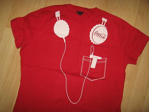 Coca Cola Coke Soda Pop Headphones Tee - Womens XL