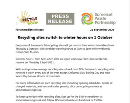 Recycling sites switching to winter hours
