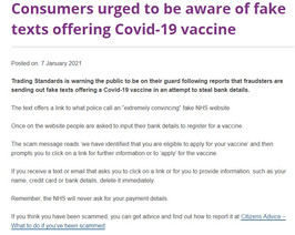Fake texts offering Covid vaccine