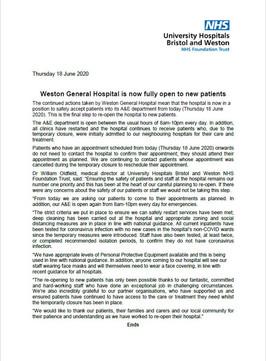 Western General Hospital Fully Open