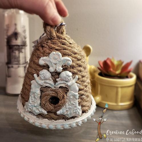 Handmade Decorative Beehive Angels Cherubs Farmhouse Rustic Wedding BeeKeeper