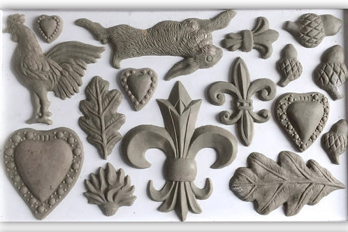 IOD FLEUR DE LIS 6×10 DECOR MOULDS / Molds Iron Orchid Designs hearts hare rabbit rooster acorns leaves