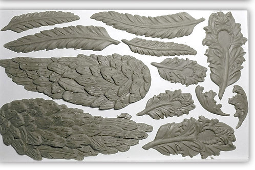 IOD WINGS AND FEATHERS 6×10 DECOR MOULDS/Molds Iron Orchid Designs