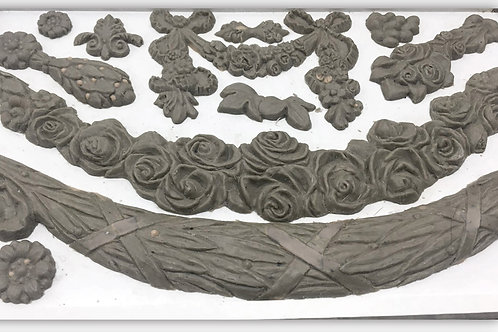 IOD SWAGS 6×10 DECOR MOULD / mold roses floral iron orchid designs